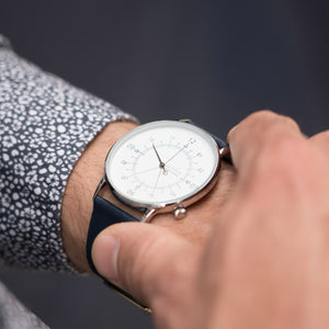 Gustave Montre Louis White & Silver - Blue Leather