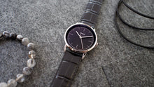 Load image into Gallery viewer, Vario Eclipse Onyx Black Sweeping Quartz Dress Watch on ZRC Alligator Grain Watch Strap