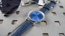 Load image into Gallery viewer, Vario Eclipse Topaz Blue Sweeping Quartz Dress Watch on ZRC Buffalo Watch Strap