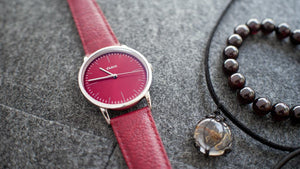 Vario Eclipse Ruby Red Sweeping Quartz Dress Watch on ZRC Buffalo Watch Strap