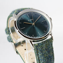 Load image into Gallery viewer, Vario Eclipse Emerald Green Sweeping Quartz Dress Watch on Harris Tweed Watch Strap