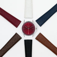 Load image into Gallery viewer, Vario Eclipse Ruby Red Sweeping Quartz Dress Watch on ZRC Buffalo Watch Strap