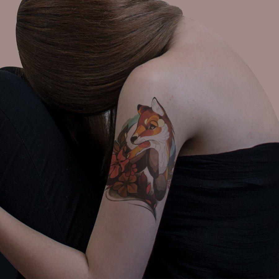 Renard Cartoon animaux FIT ME TATTOO Fit Me Tattoo, tatouage éphémère, tatouage temporaire