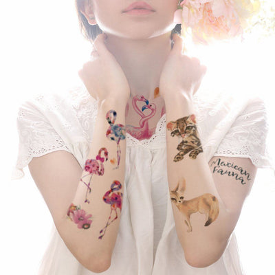 Flamant Fleur animaux FIT ME TATTOO Fit Me Tattoo, tatouage éphémère, tatouage temporaire