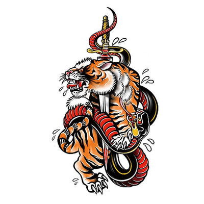 Tigre Serpent art FIT ME TATTOO Fit Me Tattoo, tatouage éphémère, tatouage temporaire