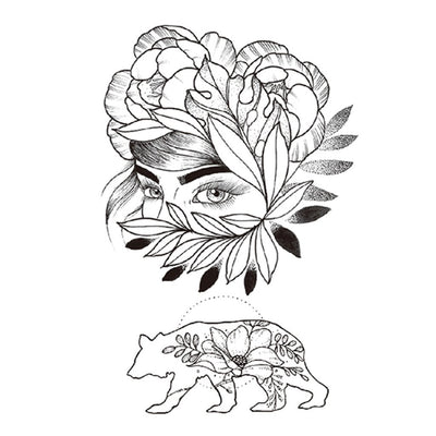Fleurs Ours nature FIT ME TATTOO Fit Me Tattoo, tatouage éphémère, tatouage temporaire