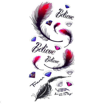 Believe Plume nature FIT ME TATTOO Fit Me Tattoo, tatouage éphémère, tatouage temporaire