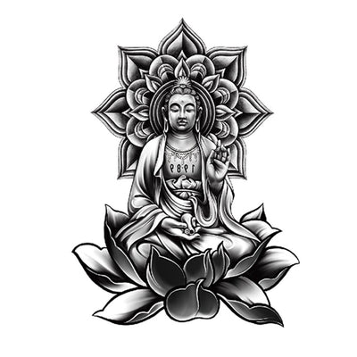 Bouddha Zen spirituel FIT ME TATTOO Fit Me Tattoo, tatouage éphémère, tatouage temporaire
