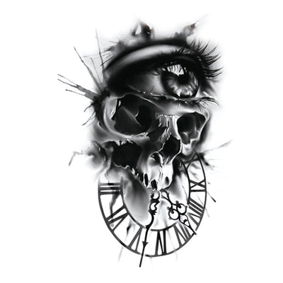 Skull Clock spirituel FIT ME TATTOO Fit Me Tattoo, tatouage éphémère, tatouage temporaire