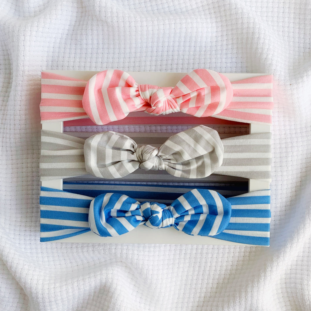 Knot Bow Headband set - For the Love of Stripes