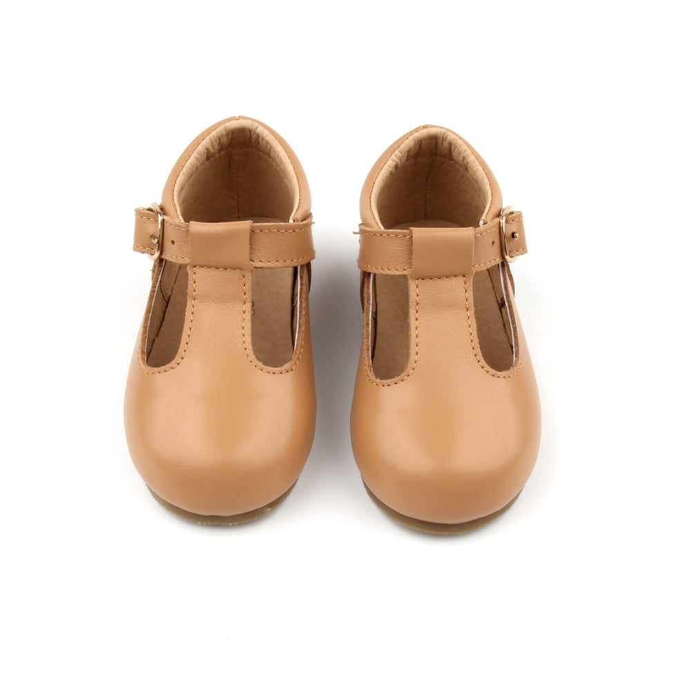 'Florence' Leather T-Bar Shoes (Latte) - hard sole