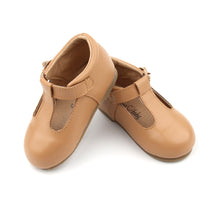 Load image into Gallery viewer, 'Florence' Leather T-Bar Shoes (Latte) - hard sole