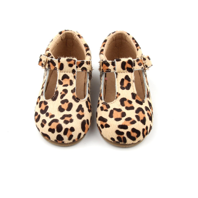 'Florence' Leather T-Bar Shoes (Leopard) - hard sole