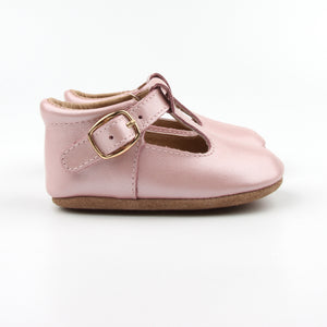 'Florence' Leather T-Bar Shoes (Frosty Blush) - soft sole pre-walkers
