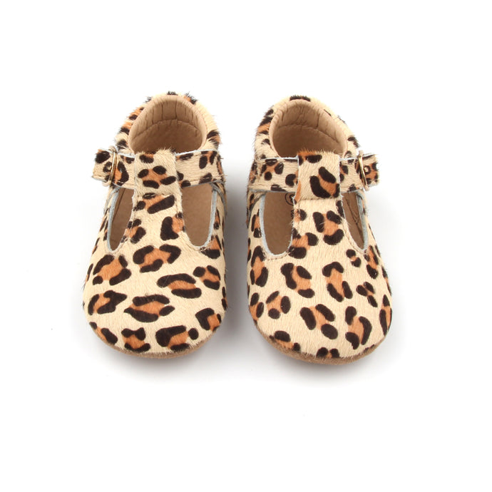 'Florence' Leather T-Bar Shoes (Leopard) - soft sole pre-walkers