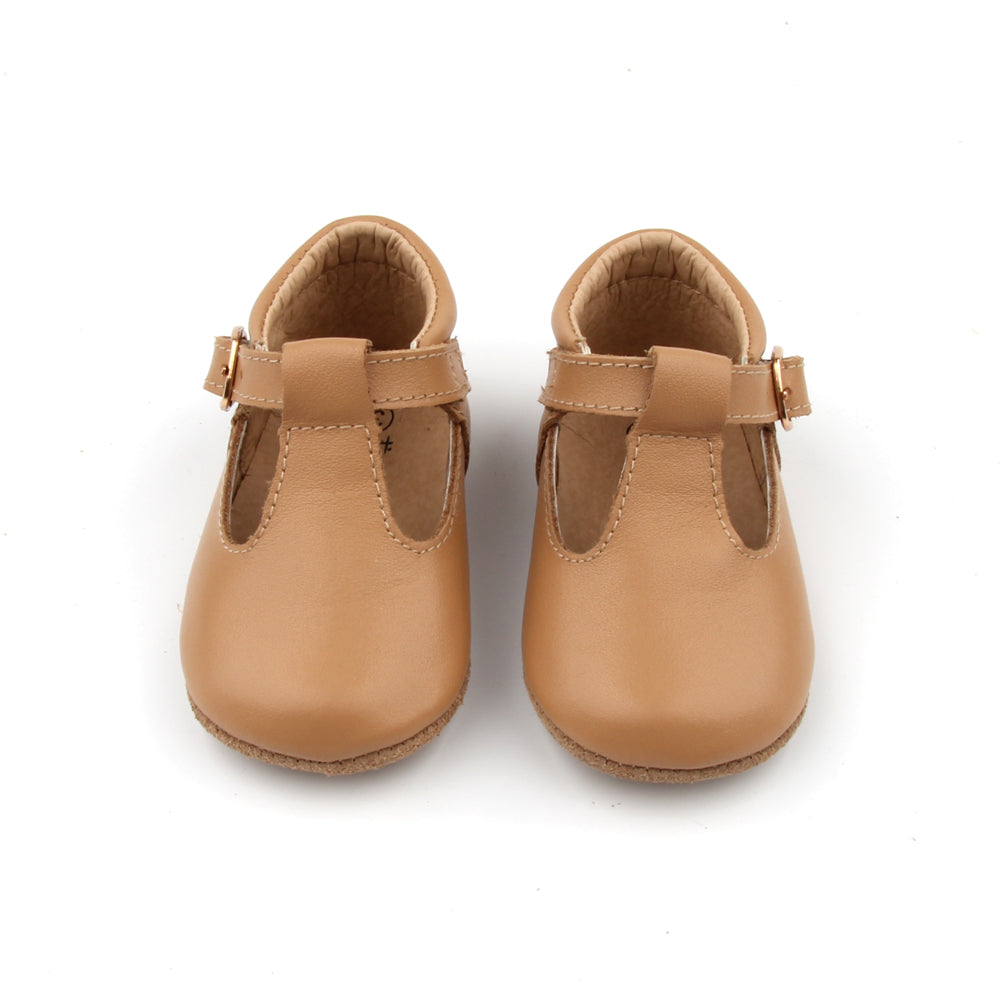 'Florence' Leather T-Bar Shoes (Latte) - soft sole pre-walkers