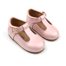 Load image into Gallery viewer, 'Florence' Leather T-Bar Shoes (Frosty Blush) - hard sole