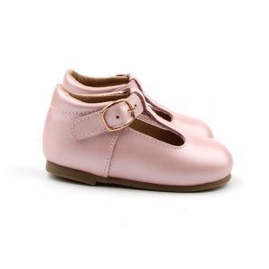 'Florence' Leather T-Bar Shoes (Frosty Blush) - hard sole