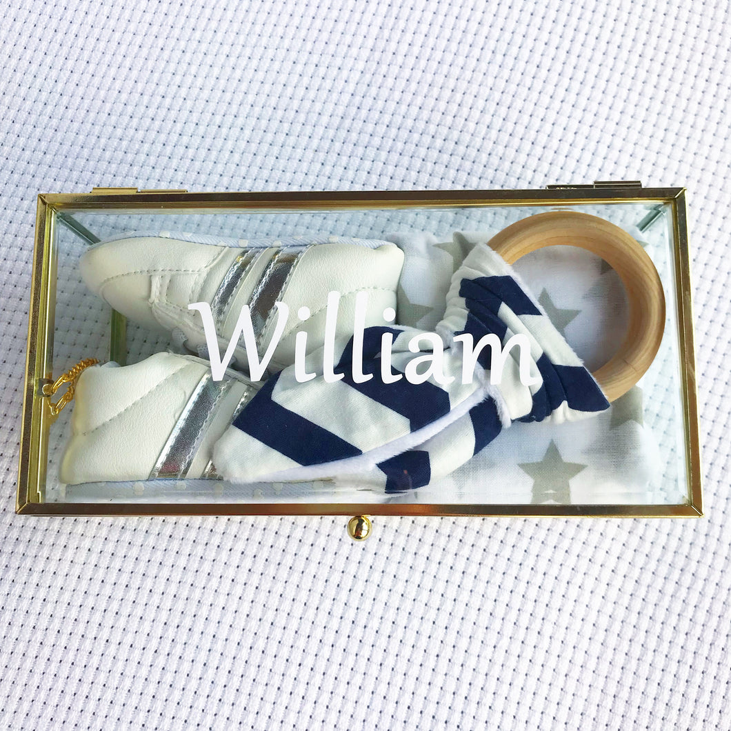 William Amore gift box - personalised baby boy keepsake gift box