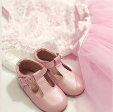 Load image into Gallery viewer, 'Florence' Leather T-Bar Shoes (Frosty Blush) - soft sole pre-walkers