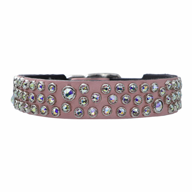 Dog collar - Pink leather w/ Swarovski crystals - Yap Wear Store Albert Park | Pet Boutique