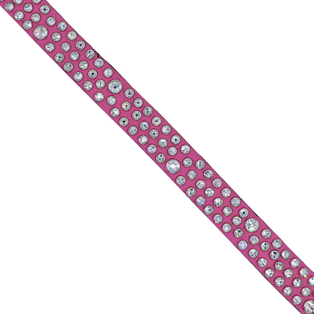Dog collar - Hot Pink leather with clear Swarovski crystals - Yap Wear Store Albert Park | Pet Boutique