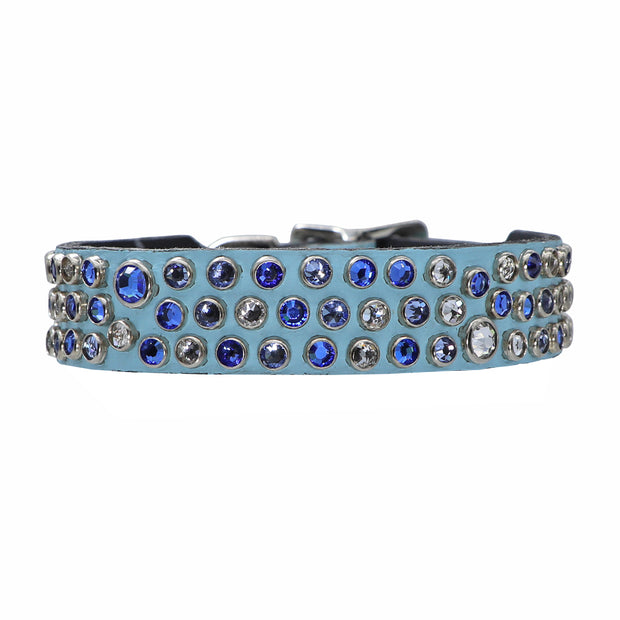Dog collar - Blue leather w/ clear and blue Swarovski crystals - Yap Wear Store Albert Park | Pet Boutique