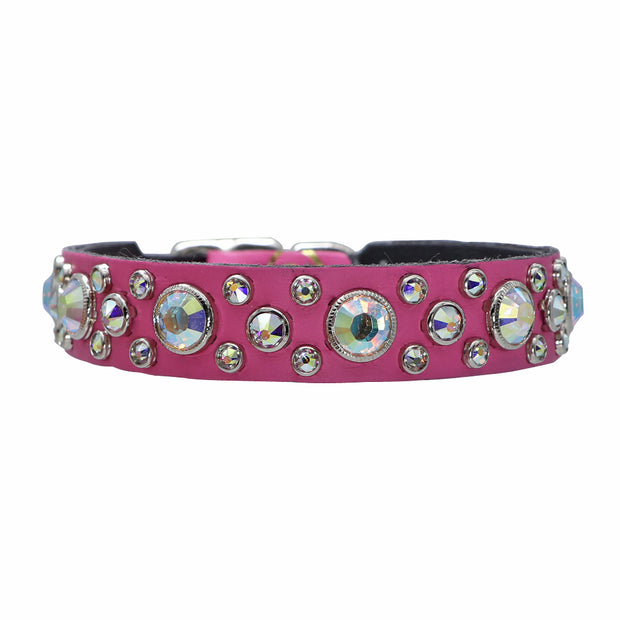 Dog collar - Hot Pink leather with Swarovski crystals - Yap Wear Store Albert Park | Pet Boutique