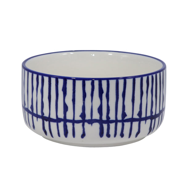 Ceramic Pet Bowl with Blue Paw print motif