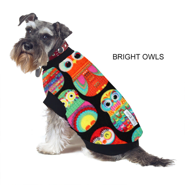 Dog Skivvy -  Bright Owls: polar fleece: made in Australia