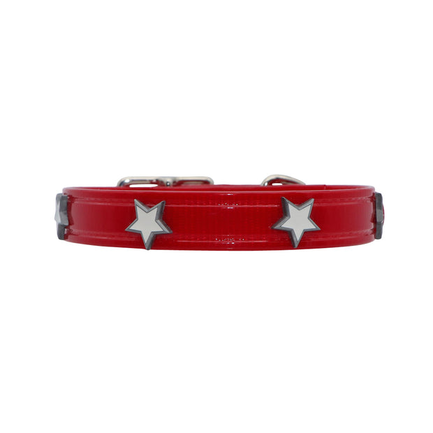 Red Hydro waterproof collar with Stars - Yap Wear Store Albert Park | Pet Boutique