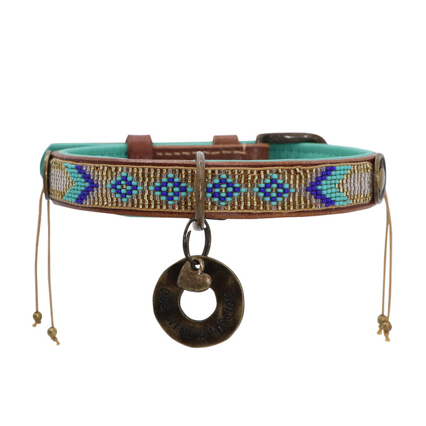 Leather beaded dog collar: gold & jade - Yap Wear Store Albert Park | Pet Boutique