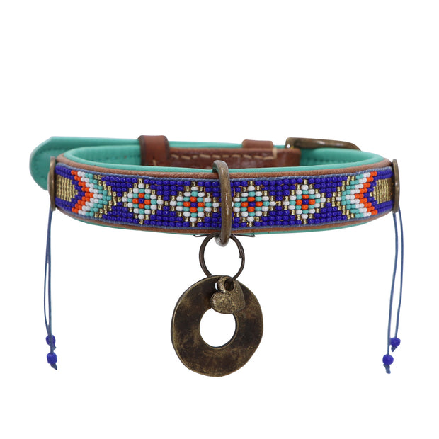Made in Germany - Blue & jade beaded leather collar