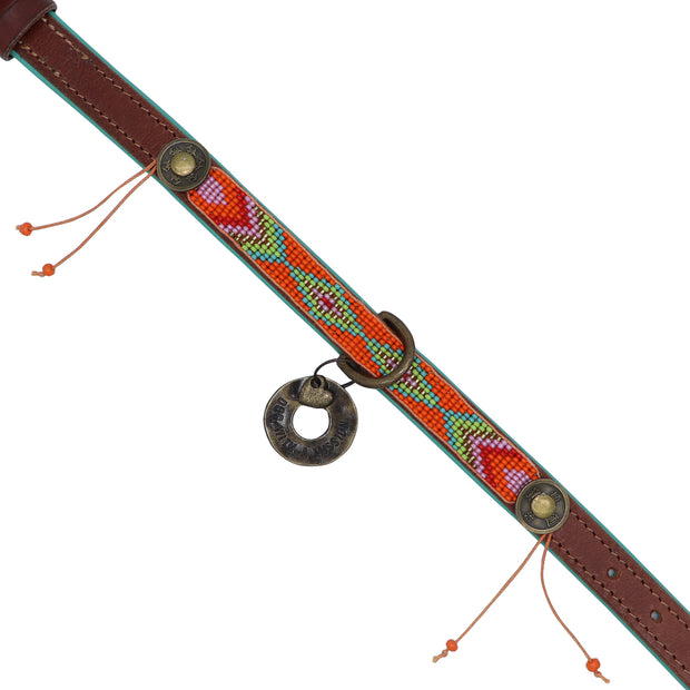 Made in Germany - Orange & green beaded leather collar