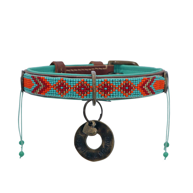 Made in Germany - Jade & orange beaded leather collar - Yap Wear Store Albert Park | Pet Boutique