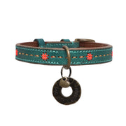Leather dog collar: jade w/ decorative stitching - Yap Wear Store Albert Park | Pet Boutique