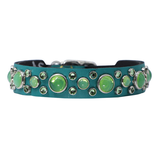 Dog collar - Green Swarovski crystals and glass Cabachons on Jade leather