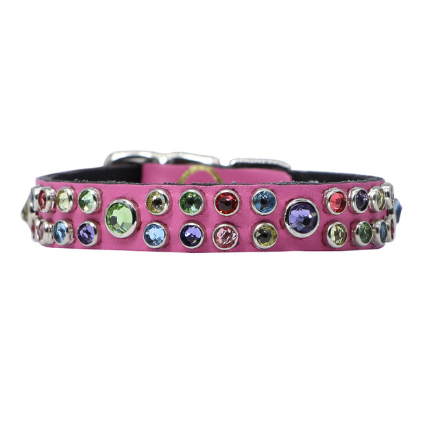 Dog collar - Hot Pink leather with multi coloured Swarovski crystals