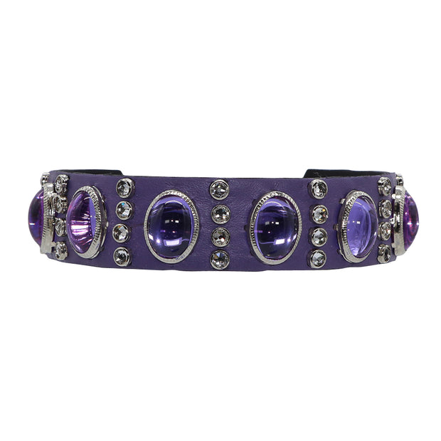 Dog collar - Purple leather with clear Swarovski crystals & oval glass Cabachons - Yap Wear Store Albert Park | Pet Boutique