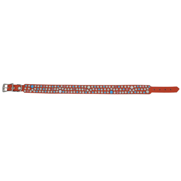 Dog Collar - Orange leather with multi coloured glass Cabachons