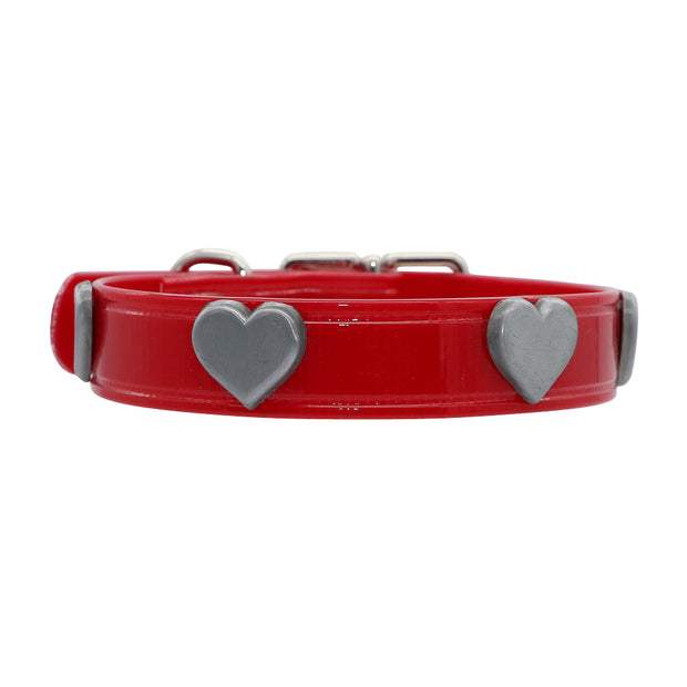 Red Hydro waterproof collar with Large Hearts - Yap Wear Store Albert Park | Pet Boutique