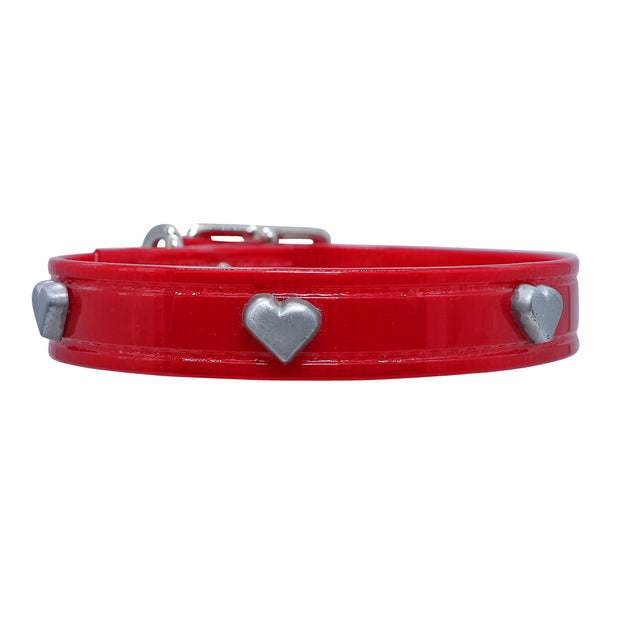 Red Hydro waterproof collar with Hearts - Yap Wear Store Albert Park | Pet Boutique
