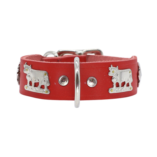 Red leather dog collar SMALL - Handmade in Switzerland