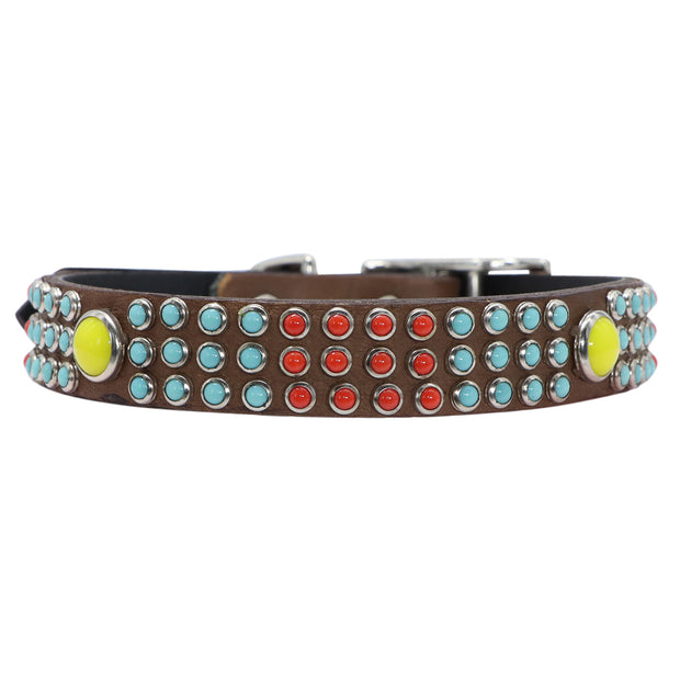 Dog Collar - Tribal coloured glass cabochons on brown leather