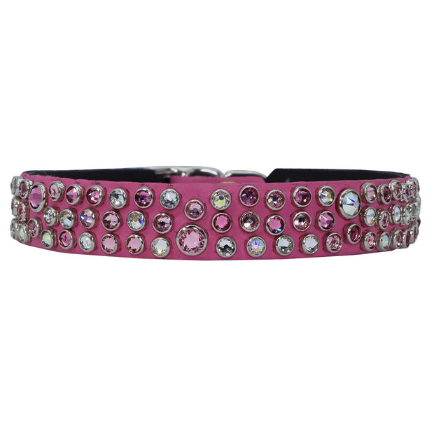 Dog Collar - Hot Pink leather w/ pink and clear Swarovski crystals - Yap Wear Store Albert Park | Pet Boutique