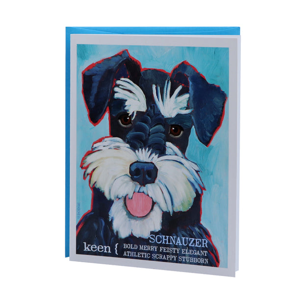Schnauzer black & silver card (blank) - Yap Wear Store Albert Park | Pet Boutique