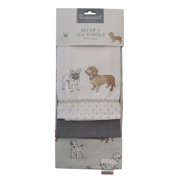 Dachshunds and Frenchies - Set of 3 Tea towels - Yap Wear Store Albert Park | Pet Boutique