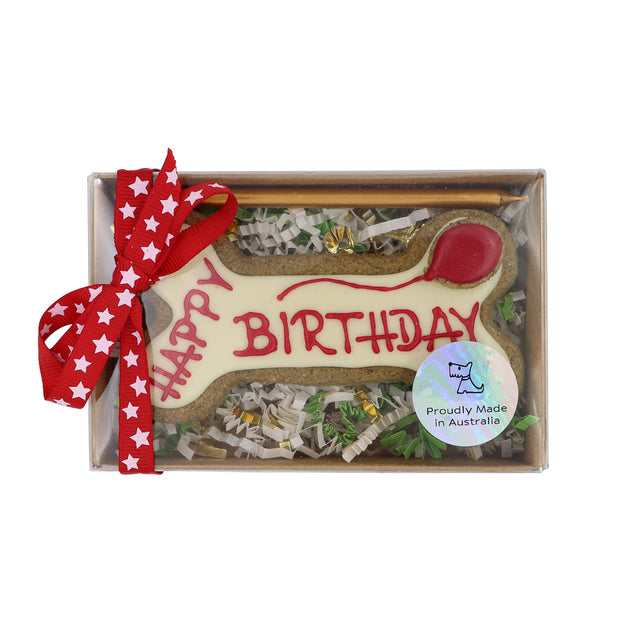 Happy Birthday Dog Biscuit: gift boxed - Yap Wear Store Albert Park | Pet Boutique