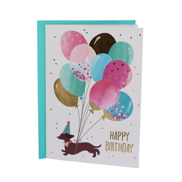Happy Birthday card - Dachshund with balloons - Yap Wear Store Albert Park | Pet Boutique