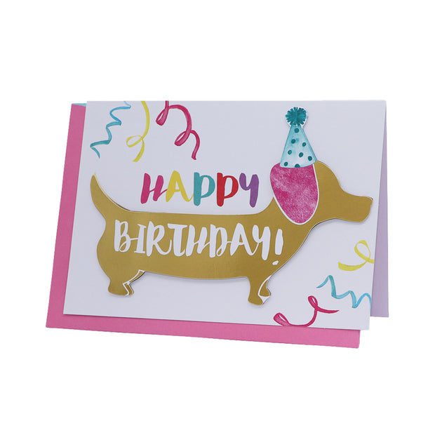 Happy Birthday card - Party Dachshund - Yap Wear Store Albert Park | Pet Boutique